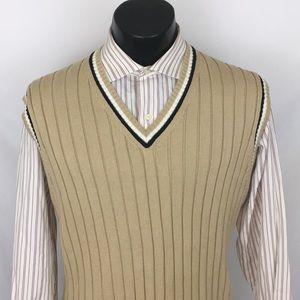 Brooks Brothers sweater vest beige cotton L